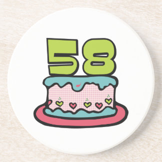 58 Year Old Birthday Cake Coaster