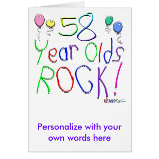 58 Year Olds Rock ! Greeting Card