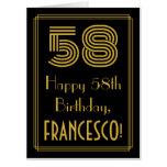 "[ Thumbnail: 58th Birthday: Art Deco Inspired Look ""58"" + Name Card ]"