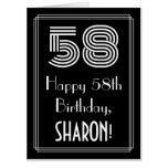 "[ Thumbnail: 58th Birthday — Art Deco Inspired Look ""58"" + Name Card ]"