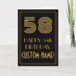"[ Thumbnail: 58th Birthday: Art Deco Inspired Look ""58"" & Name Card ]"
