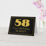 "[ Thumbnail: 58th Birthday: Art Deco Inspired Look ""58"" & Name Card ]"