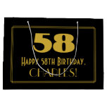 "[ Thumbnail: 58th Birthday — Art Deco Inspired Look ""58"" & Name Gift Bag ]"