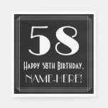 "[ Thumbnail: 58th Birthday ~ Art Deco Inspired Look ""58"", Name Napkins ]"