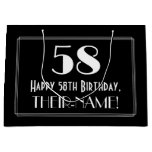 "[ Thumbnail: 58th Birthday: Art Deco Inspired Style ""58"", Name Gift Bag ]"