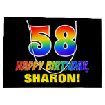 [ Thumbnail: 58th Birthday: Bold, Fun, Simple, Rainbow 58 Gift Bag ]