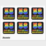 [ Thumbnail: 58th Birthday: Bold, Fun, Simple, Rainbow 58 Sticker ]
