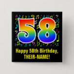 [ Thumbnail: 58th Birthday: Colorful Music Symbols, Rainbow 58 Button ]