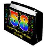 [ Thumbnail: 58th Birthday - Colorful Music Symbols, Rainbow 58 Gift Bag ]