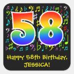 [ Thumbnail: 58th Birthday: Colorful Music Symbols, Rainbow 58 Sticker ]