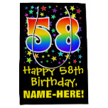 [ Thumbnail: 58th Birthday: Colorful Stars Pattern & Rainbow 58 Gift Bag ]