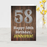 [ Thumbnail: 58th Birthday: Country Western Inspired Look, Name Card ]