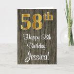 [ Thumbnail: 58th Birthday: Elegant Faux Gold Look #, Faux Wood Card ]