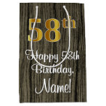 [ Thumbnail: 58th Birthday: Elegant Faux Gold Look #, Faux Wood Gift Bag ]