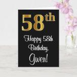 [ Thumbnail: 58th Birthday ~ Elegant Luxurious Faux Gold Look # Card ]