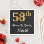 [ Thumbnail: 58th Birthday ~ Elegant Luxurious Faux Gold Look # Napkins ]