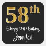 [ Thumbnail: 58th Birthday – Elegant Luxurious Faux Gold Look # Sticker ]