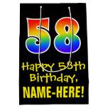"[ Thumbnail: 58th Birthday: Fun, Bold, Colorful, Rainbow ""58"" Gift Bag ]"