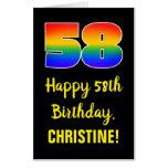 [ Thumbnail: 58th Birthday: Fun, Colorful, Happy, Rainbow # 58 Card ]