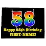 [ Thumbnail: 58th Birthday ~ Fun, Colorful, Vibrant, Rainbow 58 Gift Bag ]