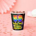 [ Thumbnail: 58th Birthday: Fun Fireworks Pattern + Rainbow 58 ]
