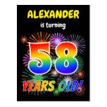 "[ Thumbnail: 58th Birthday - Fun Fireworks, Rainbow Look ""58"" Postcard ]"