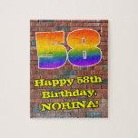 [ Thumbnail: 58th Birthday: Fun Graffiti-Inspired Rainbow 58 Jigsaw Puzzle ]