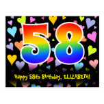 [ Thumbnail: 58th Birthday: Fun Hearts Pattern, Rainbow 58 Postcard ]