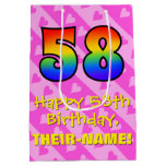 [ Thumbnail: 58th Birthday: Fun Pink Hearts Stripes; Rainbow 58 Gift Bag ]