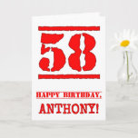 [ Thumbnail: 58th Birthday: Fun, Red Rubber Stamp Inspired Look Card ]