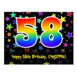 [ Thumbnail: 58th Birthday: Fun Stars Pattern, Rainbow 58, Name Postcard ]