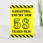 [ Thumbnail: 58th Birthday: Fun Stencil Style Text, Custom Name Card ]