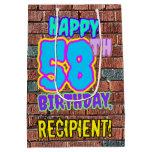 [ Thumbnail: 58th Birthday: Fun, Urban Graffiti Inspired Look Gift Bag ]