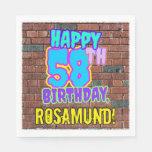 [ Thumbnail: 58th Birthday ~ Fun, Urban Graffiti Inspired Look Napkins ]