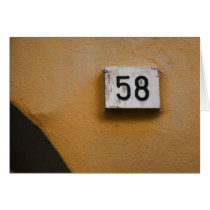 58th Birthday - Italian Door Number Card
