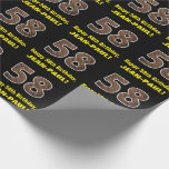 "[ Thumbnail: 58th Birthday: Name & Faux Wood Grain Pattern ""58"" Wrapping Paper ]"