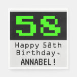 "[ Thumbnail: 58th Birthday - Nerdy / Geeky Style ""58"" & Name Napkins ]"