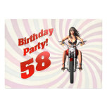 58th birthday party with a girl on a motorbike personalized invite