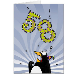 58th Birthday - Penguin Surprise Card