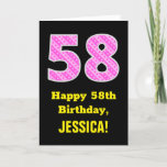 "[ Thumbnail: 58th Birthday: Pink Stripes and Hearts ""58"" + Name Card ]"