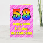 [ Thumbnail: 58th Birthday: Pink Stripes & Hearts, Rainbow # 58 Card ]
