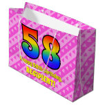 [ Thumbnail: 58th Birthday: Pink Stripes & Hearts, Rainbow # 58 Gift Bag ]