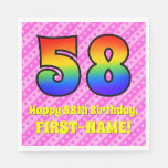 [ Thumbnail: 58th Birthday: Pink Stripes & Hearts, Rainbow # 58 Napkins ]