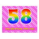 [ Thumbnail: 58th Birthday: Pink Stripes & Hearts, Rainbow 58 Postcard ]