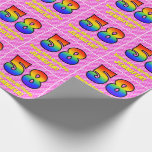 [ Thumbnail: 58th Birthday: Pink Stripes & Hearts, Rainbow # 58 Wrapping Paper ]