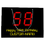 "[ Thumbnail: 58th Birthday: Red Digital Clock Style ""58"" + Name Gift Bag ]"