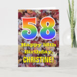 "[ Thumbnail: 58th Birthday; Rustic Autumn Leaves; Rainbow ""58"" Card ]"