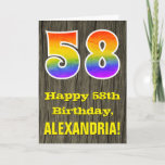 "[ Thumbnail: 58th Birthday: Rustic Faux Wood Look, Rainbow ""58"" Card ]"