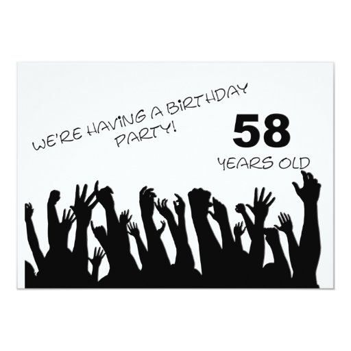 58th party invitation with cheering crowds