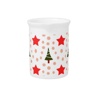 594 Cute Christmas tree and stars pattern.jpg Drink Pitcher